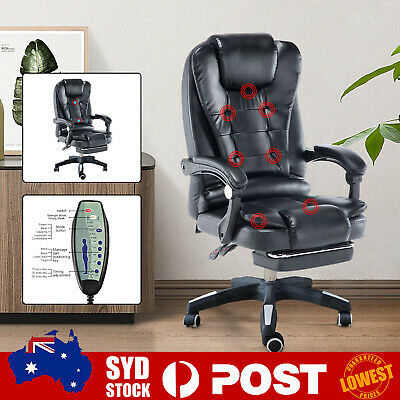 AU135.99 • Buy Points Massage Office Chair PU Leather Computer Gaming Chairs W/ Footrest A