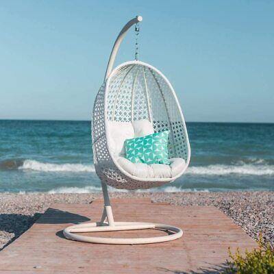 LDK Garden Outdoor Garden Egg Swing Hanging Chair With Stand White • 359.97£