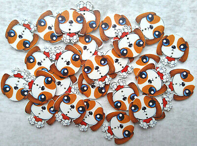 £2.79 • Buy 10 Cute Dog Shape Wooden Buttons Animal Fun Knitting Sewing Crocheting Craft