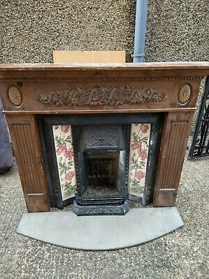 Victorian Style Cast Iron Tiled Fireplace And Surround  • 5£