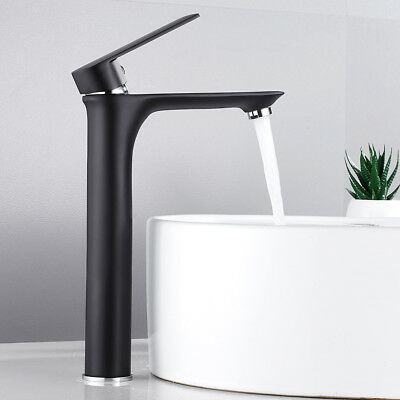 Modern Black Bathroom Basin Mixer Taps Tall Counter Top Brass Tap Faucets • 49.86£