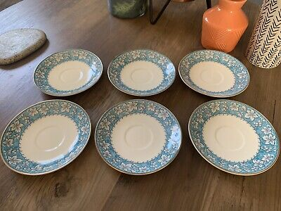 Vintage Burleigh Ware Saucer Grapevine Turquoise Burgess & Leigh X 6 • 10.20£