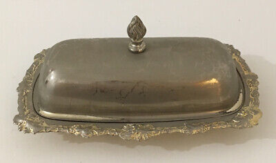 Silver Plated Art Deco Flame Butter Dish Vintage Knife Glass • 8£