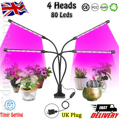 4 Head 80 LED Grow Light Growing Full Spectrum Indoor Clip Plant Lamp Adapter CH • 18.99£