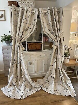 """NEXT Grey Vintage Floral Cotton Large Eyelet Curtains 66x90"""" New Shabby Chic • 9.99£"""