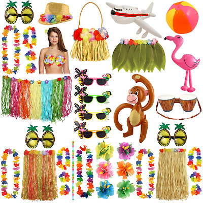 Tropical Hawaiian Party Decoration Luau Beach Bbq Decor Hula Skirt Cocktail Lei • 1.70£