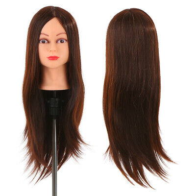 AU32.19 • Buy 24'' Human Hair Mannequin Dummy Head For Braiding Hair Styling Practice A4V7
