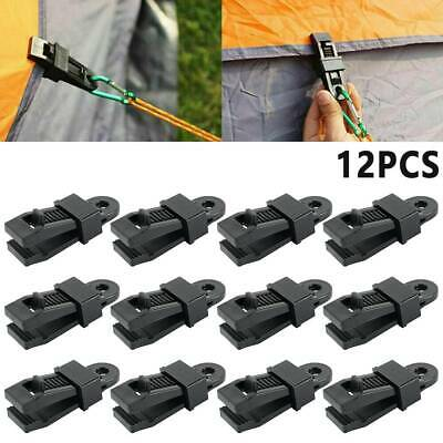 12 PCS Reusable Tent Tarp Tarpaulin Clip Clamp Buckle Camping Tool Heavy Duty UK • 5.99£