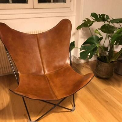 £111.31 • Buy Brown Vintage Buff Leather Butterfly Chair Living Room Relax Arm Chair Handmade