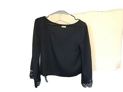 AU4.99 • Buy HOLLISTER 3/4 Sleeve With Lace Trim Silk Type Crop Blouse Navy Size XS Boat Neck