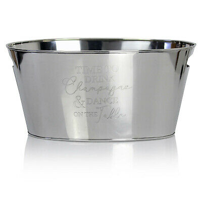 Large Stainless Steel Wine Cooler Cooling Ice Bucket Beer Chiller With Handles • 19.95£