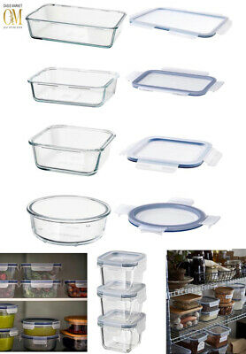 £8.99 • Buy Food Glass Containers Food Storage Microwave Dishwasher Safe Stackable Lids IKEA