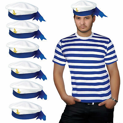 New Men's Red & White Blue Stripes T-shirt Sailor Hat Adult Fancy Dress Outfit • 3.99£