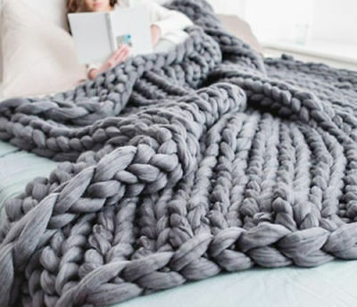 Large Soft Chunky Knitted Thick Blanket Hand Yarn Wool Throw Sofa Blanket Gift** • 12.99£
