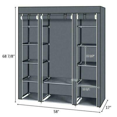 Large Canvas Fabric Wardrobe With Hanging Rail Shelving Clothes Storage Portable • 23.99£