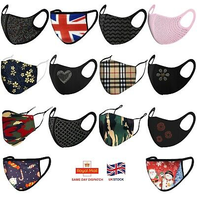 Face Mask Breathable Face Covering UK Virus Protection Cover Washable Reusable  • 3.99£