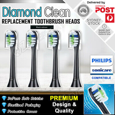 AU11.95 • Buy 4x DIAMOND CLEAN Philips Sonicare Toothbrush Compatible Brush Heads + Covers BLK