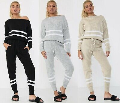Women Cable Knitted 2 Piece Suit Ladies Lounge Wear Stripe Tracksuit Set (8-14) • 15.99£