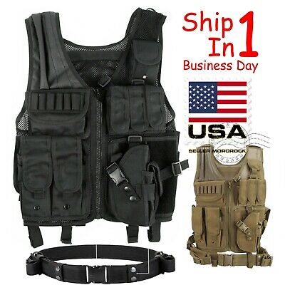 $39.88 • Buy Tactical Vest Military Gun Holder Molle Police Airsoft Combat Assault Gear