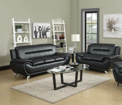 7 Star Max Sofa Set 3+2 In Black And Grey Faux Leather With Chrome Silver Legs • 549£