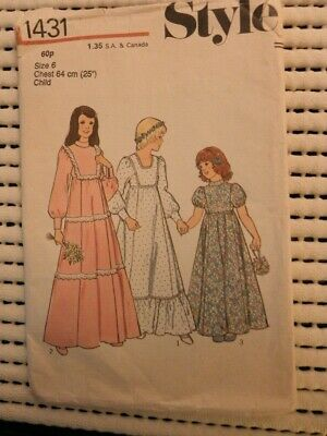 Style 1431 Sewing Pattern Girls Part Bridesmaid Dress Tiered Gypsy High Line  • 8£