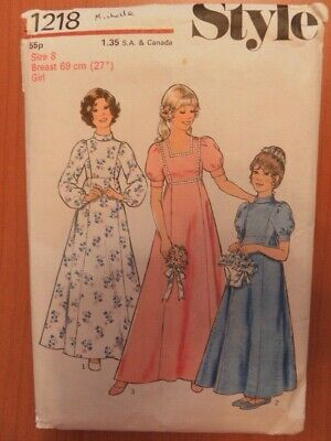 Style 1218 Sewing Pattern Girls Child Bridesmaid Party Dress Gown Cut Age 8 Year • 8£