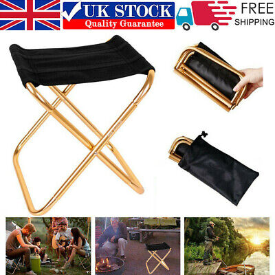Portable Folding Chair Foldable Stool Seat Aluminum For Fishing Camping Outdoor • 9.99£