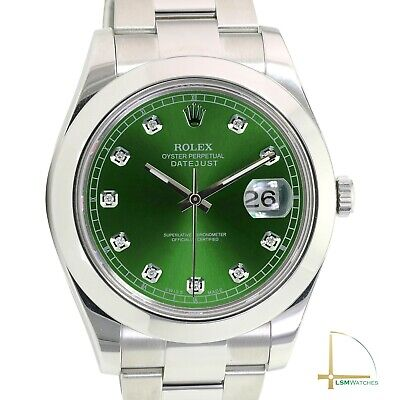 $ CDN12347.84 • Buy Rolex Mens Watch Datejust II Green Diamond Dial Stainless Steel Oyster Band 41mm