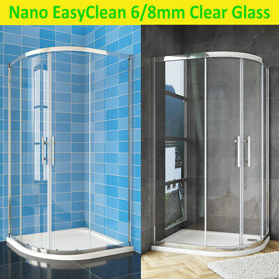 Quadrant Shower Enclosure 6/8mm Easy Clean NANO Glass Clear Door StoneTray Waste • 172.16£