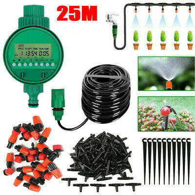25M Micro Drip Irrigation Watering Automatic Garden Plant Greenhouse System Hose • 13.98£
