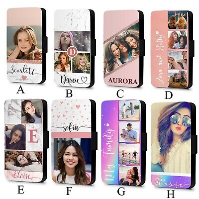 Personalised Marble Printed Custom Photo Faux Leather Flip Phone Case Cover • 10.99£