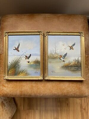 Beautiful Pair Gold Gilt Photo Picture Swept Frame Rococo Baroque Ducks Painting • 62.99£