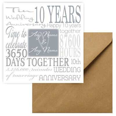 Personalised 10th Wedding Anniversary Greeting Card • 3.89£