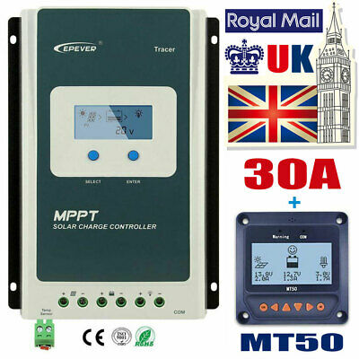 EPEVER Solar Panel Regulator Charge Controller Battery 12/24V MPPT 30A+MT50 LCD • 98.97£