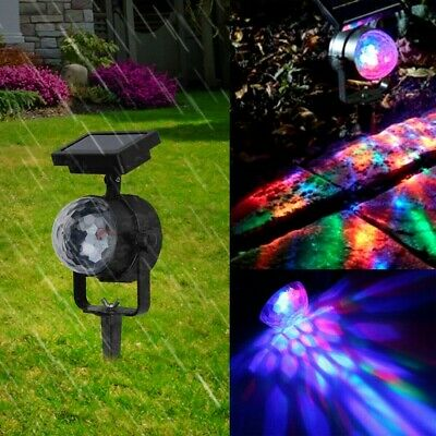 Solar Spot Lights LED Colour Changing Projection Stage Garden Party Lamp Outdoor • 10.78£