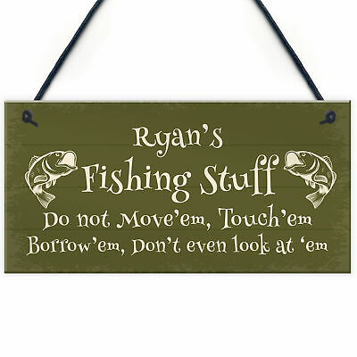 £4.99 • Buy Novelty Fishing Sign For Man Cave Shed PERSONALISED Dad Brother Uncle Gift