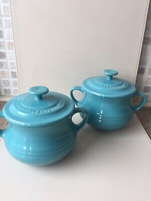 Le Creuset Casserole Pot.x 2. Turquoise.Two Handled. Lidded.Un Used. • 18.99£