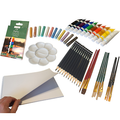 Complete Art Set 2 Paints 10 Brushes Sketchpad Pastels Palette Pencils Oil Kit • 18£