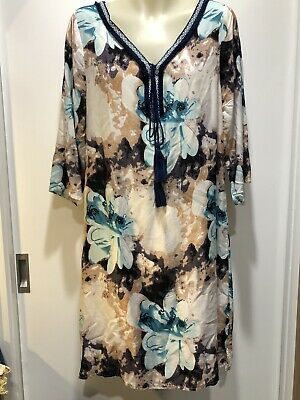 AU37 • Buy Tropical Cotton Breezy All Season Kaftan Dress With Embroidered Trim Fit 8-12