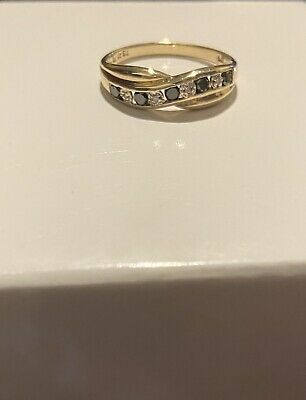 AU265 • Buy Near New Prouds 9ct Yellow Gold Diamond And Black Sapphire Ring Size 8