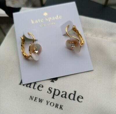 $ CDN27.99 • Buy Kate Spade New York  Gold Tone Cream Disco Pansy Flower Lever Back Earrings