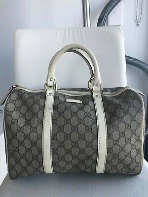 AU385 • Buy Authentic Gucci GG Coated Canvas+Leather Boston Bag, Size As Speedy30.good Value