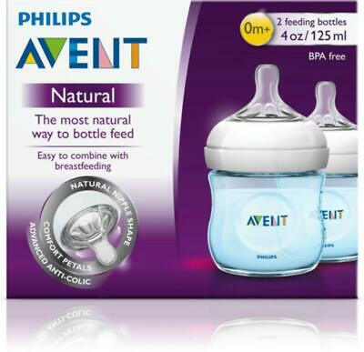 AU28.43 • Buy Philips Avent Baby Bottle Natural 2.0, 2 Pack (Blue) - 125mL Philips Avent Free