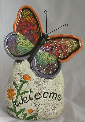 WELCOME Sign. Stone Effect With Butterfly Garden Ornament Patio Sign • 10£