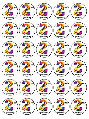 AU9.95 • Buy 2nd Birthday 30 Edible Wafer Paper Cupcake Toppers Birthday Cake Decorations #4