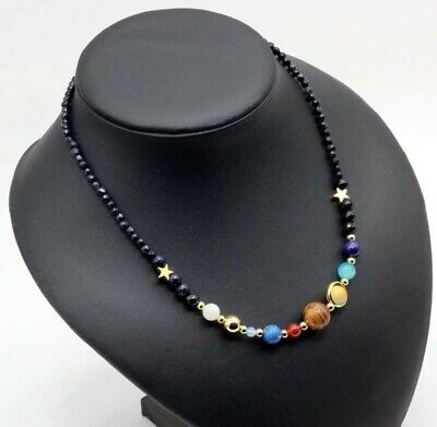 £9.99 • Buy Solar System Necklace, Celestial Necklace, Gemstone Bead Planets  Themed 252