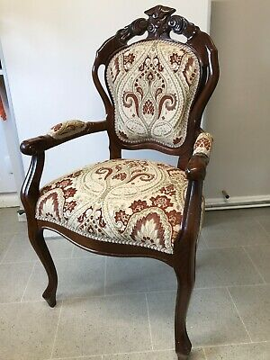 French Style Carver Chair, Fully Upholstered / Refurbished In Tapestry Fabric • 165£