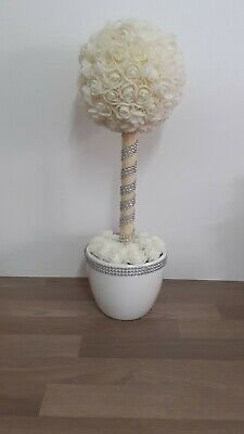 Beautiful Ivory Rose Topiary Tree,wedding Flowers, Table Centrepiece • 15£