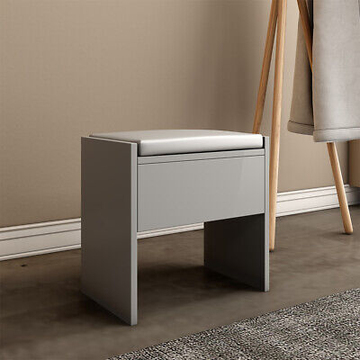 Grey Dressing Table Stool Makeup Bench Cushioned Chair Piano Seat Soft Bedroom • 19.99£