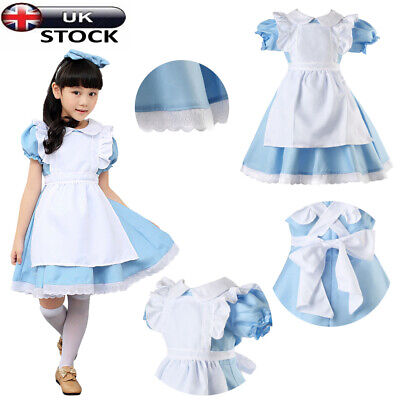 UK Kids Alice In Wonderland Girls Party Fancy Dress Maid Lolita Cosplay Costume • 12.99£